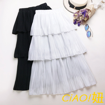 純色荷葉蛋糕裙雪紡長裙 (共二色)-CIAO妞