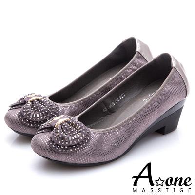 A-one-燙印麂絨布蝴蝶結圓頭粗跟鞋-灰色