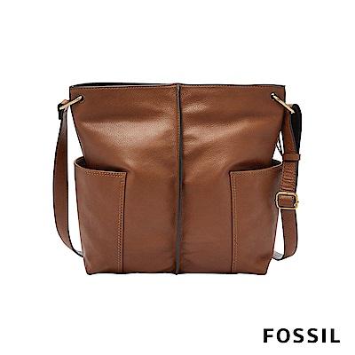 FOSSIL LANE 真皮大容量肩背包-咖啡色