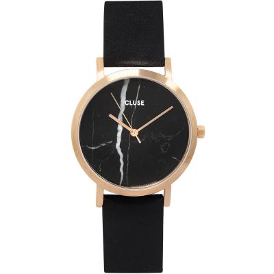CLUSE大理石系列 黑錶盤玫瑰金框黑色皮革錶帶手錶33mm