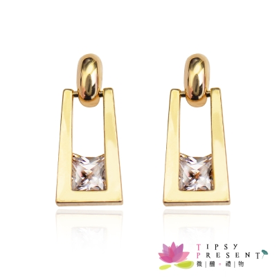 微醺禮物 鋯石 鍍K金 個性美人 耳環