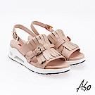 A.S.O 超能力 流蘇設計鏡面皮革奈米鞋墊休閒涼鞋 卡其