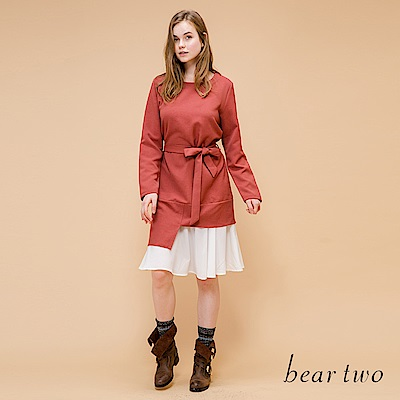 beartwo 綁結造型長版拼接雪紡洋裝(橘紅)