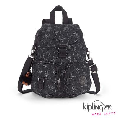 Kipling-後背包-經典猴紋黑白印花