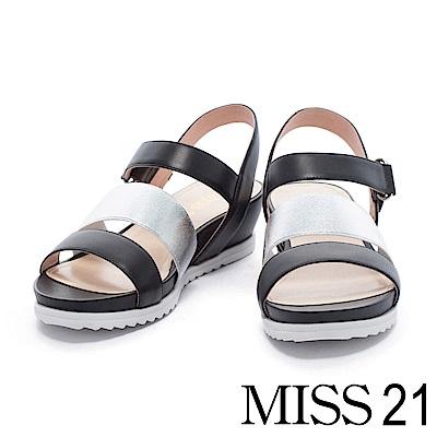 涼鞋 MISS 21 清新氛圍異材質設計牛皮厚底涼鞋-黑