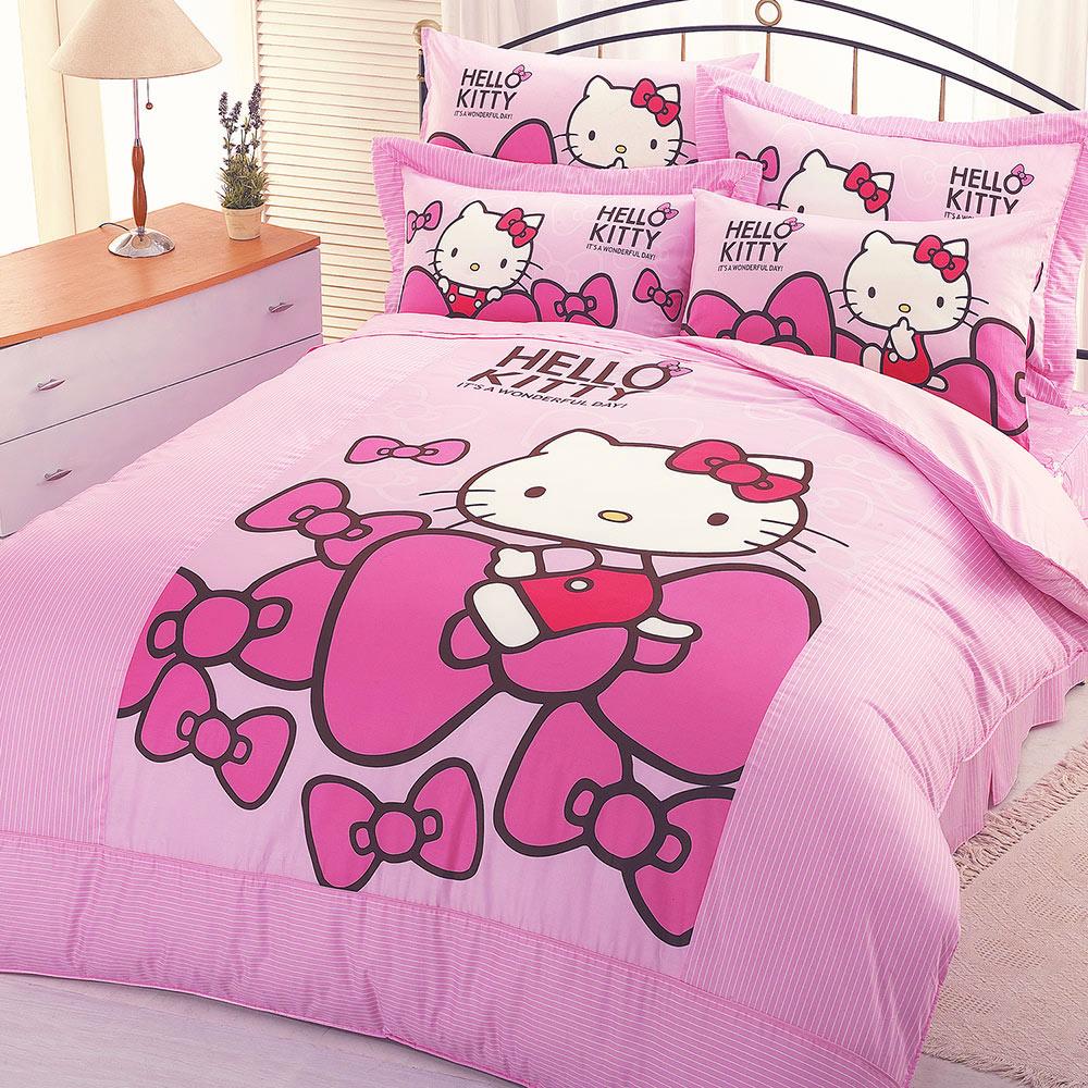 享夢城堡 精梳棉雙人床包涼被四件組-HELLO KITTY 蝴蝶結-粉