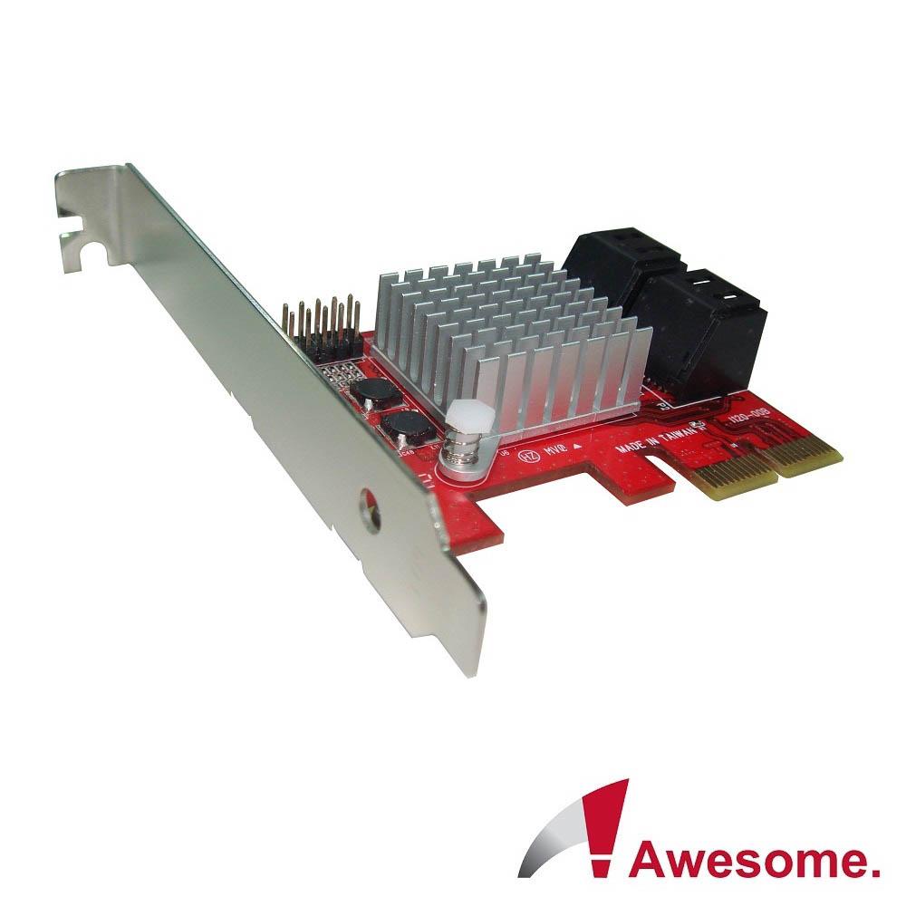 Awesome PCIe2.0x4埠AHCI SATAIII磁碟陣列卡AWD-PE-120