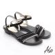 A.S.O 完美涼夏 真皮閃亮鑽飾細條帶涼鞋