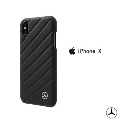 BENZ iPhone X 真皮斜紋經典背蓋