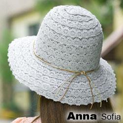 【滿額再75折】AnnaSofia 多線綁蕾絲拼接 寬簷防曬遮陽漁夫帽淑女帽(藍灰系)