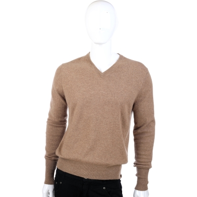 BALLANTYNE 咖啡色V領針織長袖上衣(100%CASHMERE)