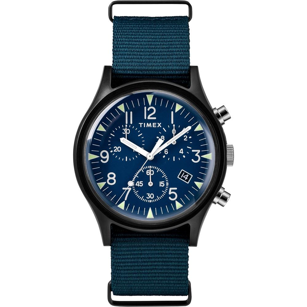 TIMEX 天美時 MK1 潮流軍錶 三眼計時手錶-藍/40mm