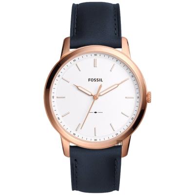FOSSIL Minimalist 薄型簡約手錶(FS5371)-銀x藍色錶帶/44mm