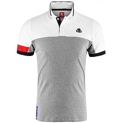 KAPPA義大利 時尚舒適型男SLIM FIT 短袖POLO衫 灰-白-紅