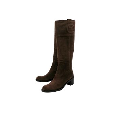 GUCCI 巧克力色麂皮時尚長靴-39號/39.5號