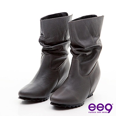 ee9素體美人-簡約羊皮抓皺內增高百搭中筒靴-素雅灰