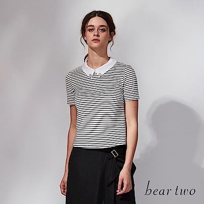 beartwo 小翻造型立領條紋上衣(二色)