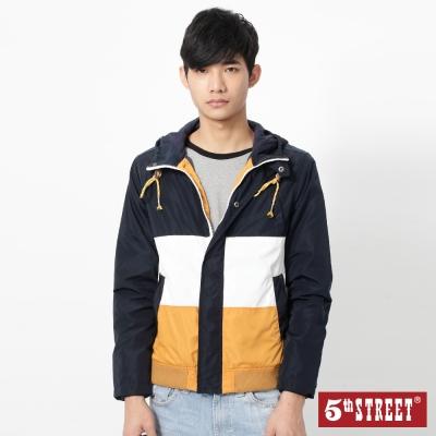 5th-STREET-拼色連帽風衣外套-男-桔黃