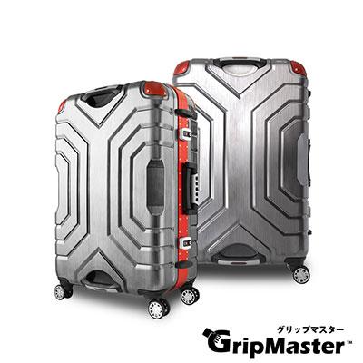 日本GRIPMASTER  24吋 黑拉絲(紅框)  王者霸氣 雙把手硬殼鋁框行李箱