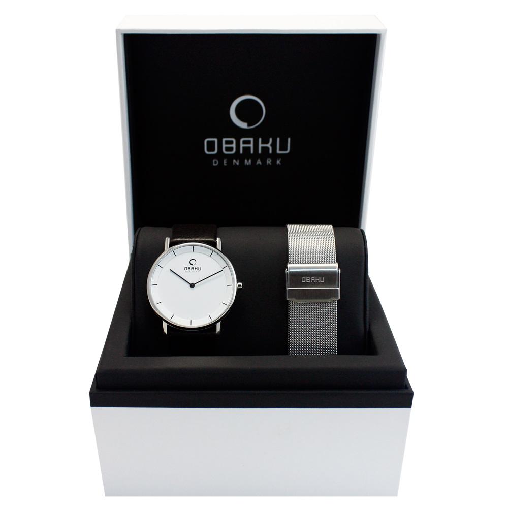 OBAKU 纖薄哲學二針時尚套錶組-銀框/黑帶37mm