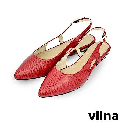 viina-尖頭簍空後繫帶平底鞋-紅色