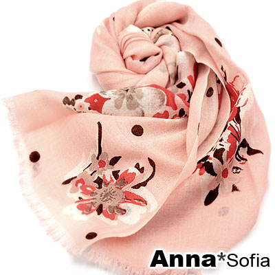 AnnaSofia-香緹菲花-薄款純羊毛圍巾-甜粉