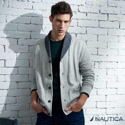Nautica 學院風雙口袋排扣休閒外套-灰色