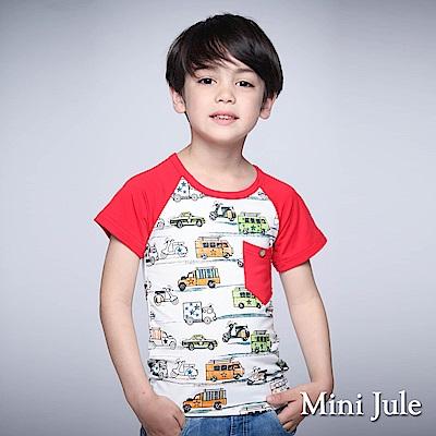 Mini Jule 童裝-上衣 彩繪星星車子單口袋棒球T(大紅)