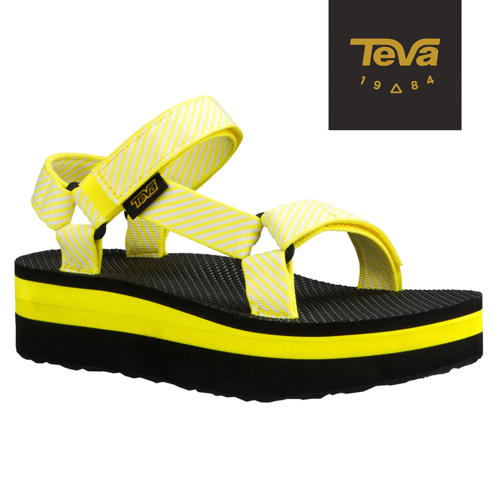 TEVA 美國-女 Flatform Universal 織帶厚底涼鞋 (條紋黃)