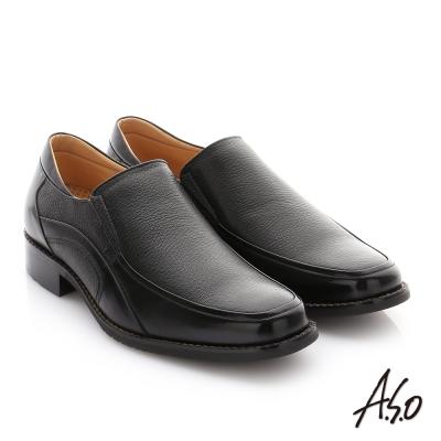 A.S.O 勁步雙核心 全真皮鬆緊帶奈米紳士鞋 黑色