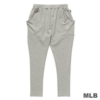 MLB-紐約洋基隊LOGO繡花飛鼠長褲-麻灰 (女)