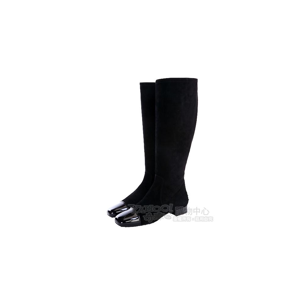 TOD'S 黑色漆皮拼接側拉鍊麂皮長靴