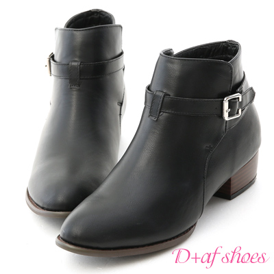 D+AF 獨特焦點.質感細釦環低跟短靴*黑