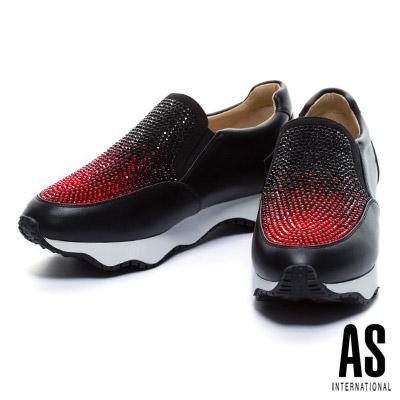 休閒鞋 AS 異材質拼接漸層排鑽厚底休閒鞋-紅