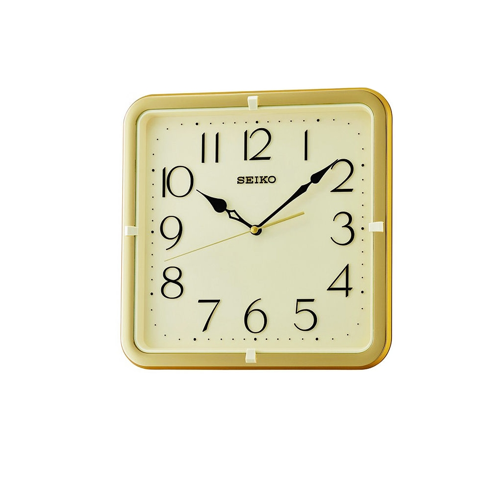 SEIKO 精工 方型 靜音滑動式秒針 時鐘(QXA685G)金框/28X28cm