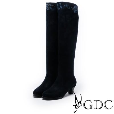 GDC-典雅花紋貼腿低跟長靴-藍色