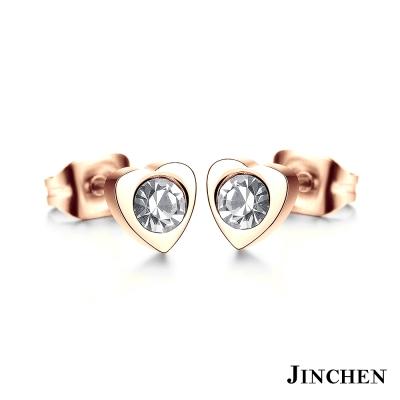 JINCHEN 白鋼愛心水鑽耳環 玫瑰金
