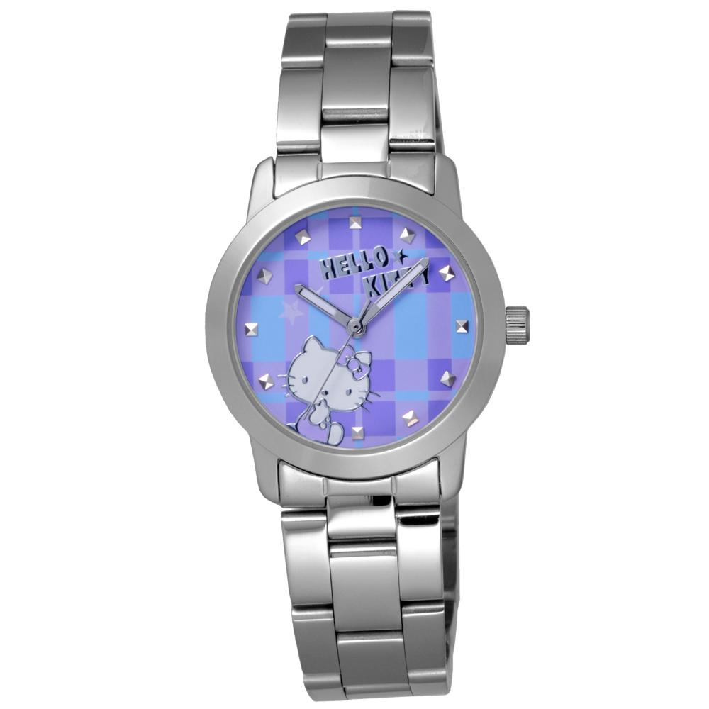 Hello Kitty 童趣格子造型腕錶-紫X銀/35mm