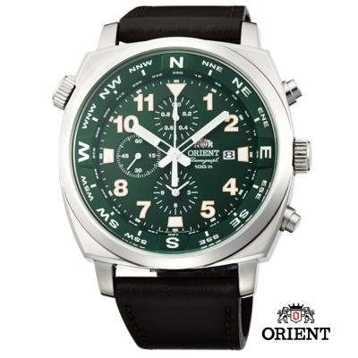 ORIENT 東方錶 東方霸王專業方位判定石英錶-綠色/45mm