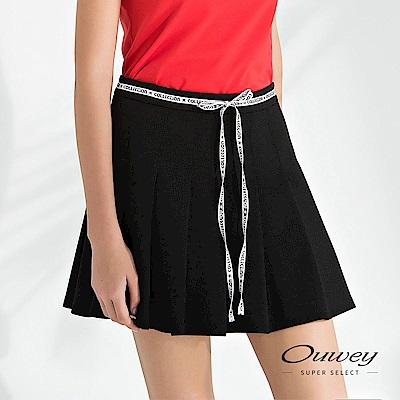 OUWEY歐薇 文字造型綁帶彈力壓褶褲裙(黑)