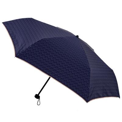 2mm 色膠抗UV 彩點花邊輕量手開傘 (深藍)