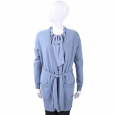 ELISABETTA FRANCHI 喀什米爾水鑽細節灰藍色綁帶針織羊毛罩衫