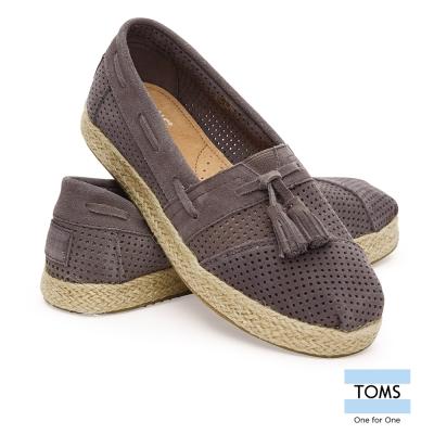TOMS 藤編底麂皮休閒鞋-女款