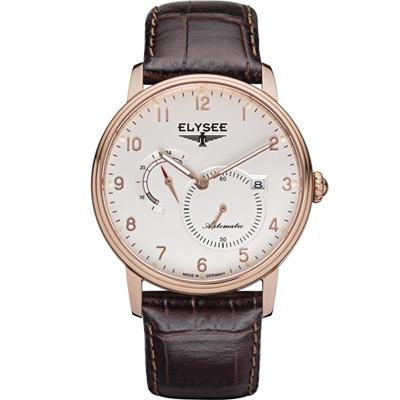 ELYSEE  Priamos  獨立秒針機械腕錶-白x玫瑰金色/41mm