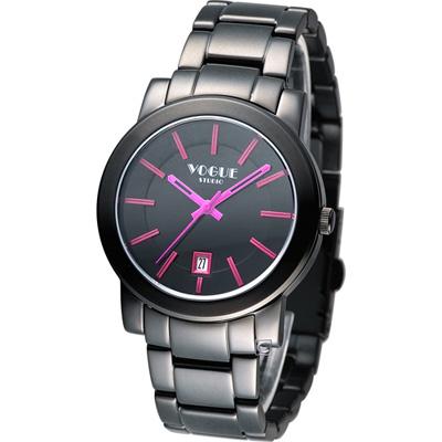 VOGUE 繽紛時尚中性腕錶-黑x桃紅/38mm