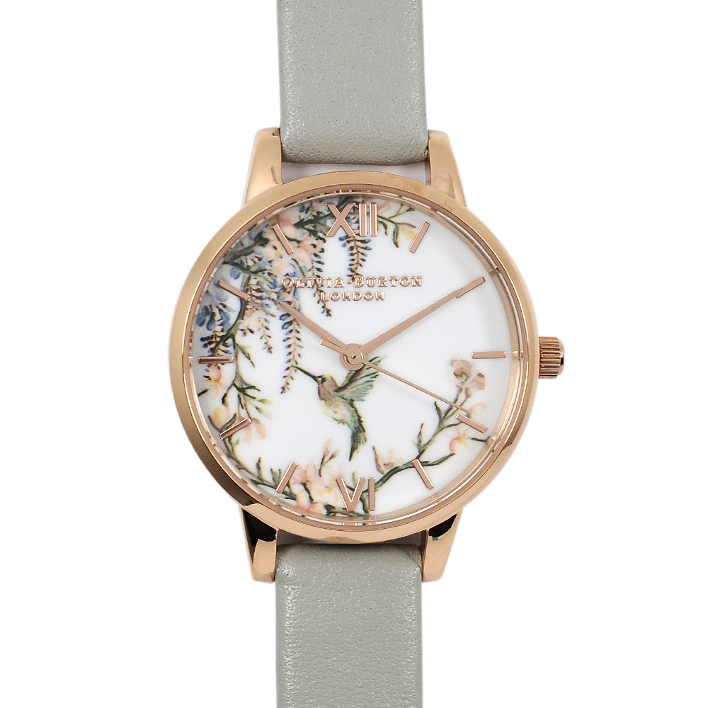 Olivia Burton 英倫復古手錶 鳥與花園白錶面玫瑰金框 灰色真皮錶帶30mm
