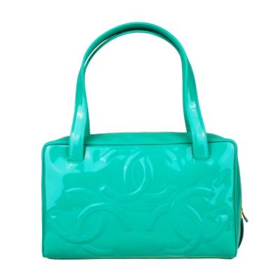 CHANEL 經典雙C LOGO漆皮手提包(綠)-展示品