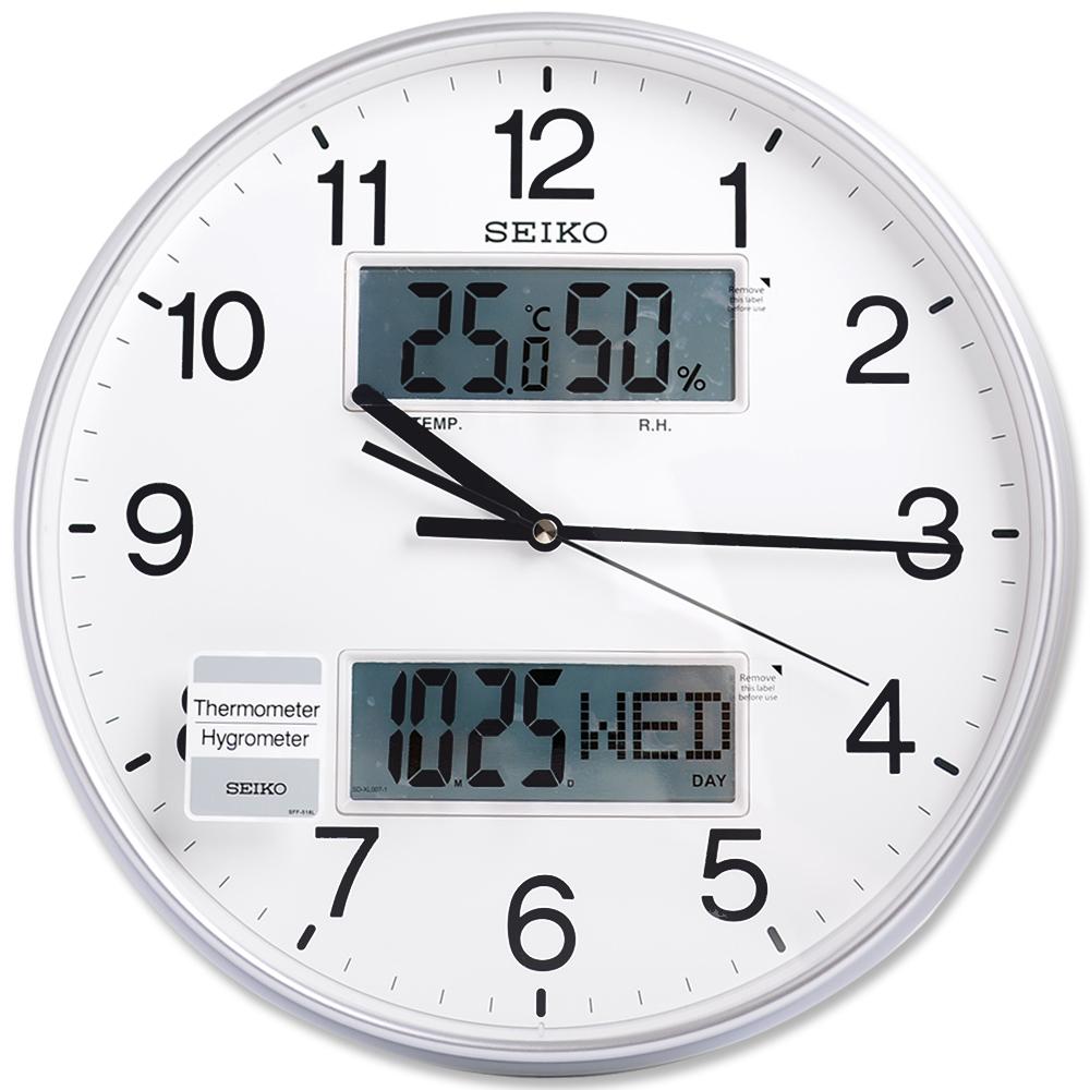 SEIKO精工銀色光感雙顯示功能溫度溼度日期靜音掛鐘時鐘QXL013S