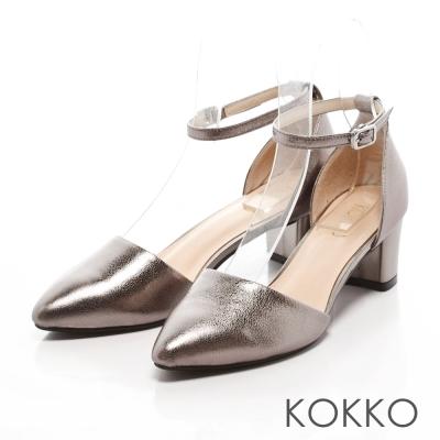 KOKKO-真皮法式優雅繫踝粗跟鞋-金屬銅