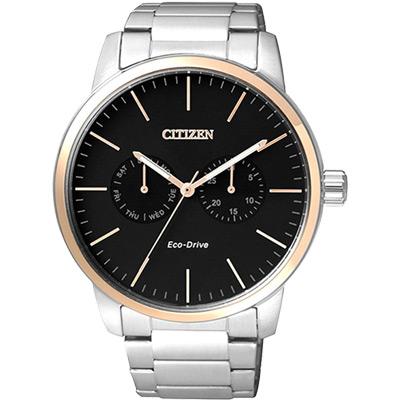 CITIZEN 光動能日曆腕錶(AO9044-51E)-黑x淡金圈/44mm